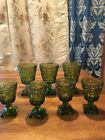 SET OF (7) COLONY PARK LANE OLIVE GREEN FOOTED GOBLETS / Glasses 2 Sizes EC