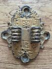 ANTIQUE CAST IRON WALL SCONCE OIL KEROSENE LAMP LANTERN DOUBLE BRACKET