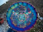 ELECTRIC GRAPE AND CABLE VARIANT CARNIVAL GLASS BOWL PIE CRUST EDGE GORGEOUS