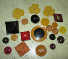 LOT 20+ ANTIQUE VINTAGE BAKELITE BUTTONS - CHUNKY - CARVED - COOKIE - APPLEJUICE