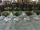 Vintage Avocado green set of 8 and set of 6 water glasses w clear stem and rib