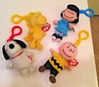 Snoopy, Woodstock, Lucy & Charlie Brown LOT TY Beanie Key Ring Clips Toy Plush