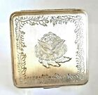 Vintage Mexico A.M.P. Sterling Silver Powder Compact with Etched LOTUS Flower.