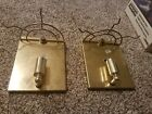 Pair Of Brass Colored Wall Hanging Light Fixtures, 7