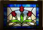3 Victorian tulips leaded stained glass window
