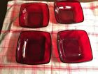 SET OF 4 ANCHOR HOCKING ~ FIRE KING CHARM RUBY RED GLASS DESSERT FRUIT BOWLS