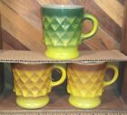 Anchor Hocking Fire King Kimberly Pattern Yellow - Green Coffee Cup Mug Lot of 3