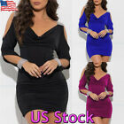Women's Long Sleeve Pleated V Neck Dress Cold Shoulder Mini Bodycon Dresses USA
