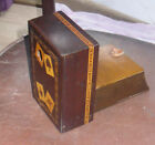 ANTIQUE Wooden Inlaid Marquetry Playing Card Box with HEART Cutout  POKER BRIDGE