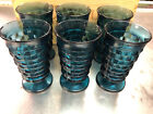 6 Blue Cubist Footed Drinking Glasses VINTAGE - Heavy Beautiful Benefits Charity
