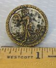 19C antique French MERVEILLEUSE PICTURE BUTTON 27mm mixed metal lady with fan