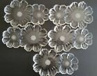 Vtg Clear Glass Flower Shaped Wedding/Party/ Snack Luncheon Dish Plate Set of 5