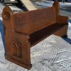 Fantastic Dark Quartersawn Tiger Oak Gothic Antique Church Pew 72