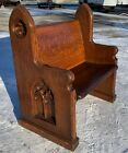 Fantastic Dark Quartersawn Tiger Oak Gothic Antique Church Pew 36