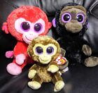 Gorilla Plush Toys TY Beanie Boos Lot of 3 Coconut Charming Romeo Monkeys 6