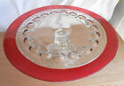 Beautiful Vintage Glass Cake Plate on Pedestal with Red Trim