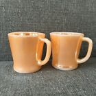 2 Anchor Hocking Fire King Peach Luster Ware Coffee Mugs Vintage Retro
