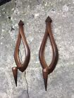 pair vintage 1966 SYROCO mid-century modern candle holder wall hanging SCONCES
