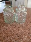 Two Vintage Clear Diamond Point Jars with Lids
