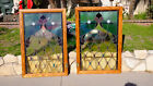 2 a pair of Vintage Stained Glass Window Panels wood frame large size very nice