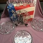 Vtg EARLY AMERICAN  Prescut Glass SNACK SET Anchor Hocking 8 Pc plate cup ~ BOX