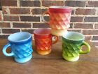 Anchor Hocking KIMBERLY Blue, Green and Orange Diamond Mugs - FOUR