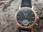 Minoir classic automatic watch - calender - open heart - leather strap - new
