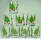 SET *8* VINTAGE ANCHOR HOCKING USA Christmas Tree w/presents Shot GLASSES - WOW