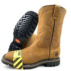 MENS STEEL TOE WORK BOOTS SAFETY PULL ON OIL RESISTANT GENUINE LEATHER HONEY