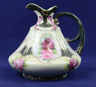 Vintage Pitcher Porcelain Hand Painted Roses Green Handle Footed