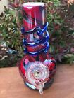 New 8 Fire Red Best Soft Glass Water Bong Collectible Slide in Stem Fumed Bowl