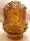 BARS FAIRY LAMP AMBER GLASS SCALLOPED RIM FOOTED BASE 6 1/2