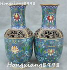 Rare China Cloisonne Enamel Copper Gold Gilt Vase Bottle pitcher Jar Flask Pair
