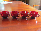 4 Anchor Hocking 6 oz Royal Ruby Red Coffee Tea Punch Cups