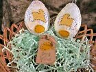 Hoppy Bunny on 2 quilted eggs with gold and white  bowl fillers, shelf art
