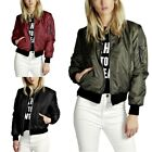 Womens Classic Casual Bomber Jacket Vintage Zip Up Biker Outerwear Coat Jacket