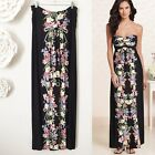 Soma Black Floral Stretch Jersey Maxi Dress Womens Size Large Spring Summer