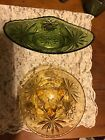 Green And Gold Early American Prescut 3 Legged Bowl And Oblong Dish