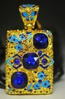 Chinese Brass Hand-carved Inlaid Cloisonne Zircon Pendant