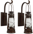 2 Lantern Wall Sconce-Large Coal Miner Style Lamp-Electric-Rustic Patina Auc-1