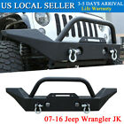 Fit 2007 2016 Jeep Wrangler JK Black Front Bumper +D ring Heavy Duty Iron Steel