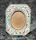 Antique Floral Mosaic Brass Easel Back Miniature Picture Frame Made in Italy