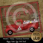 Primitive Shabby Farmhouse Vintage PRINT 8x10 - Old Red Truck Happy Easter Eggs