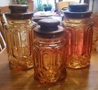 Vintage AMBER Glass Moon and Stars L.E. Smith 3 Large Canisters  Solid Wood Lids