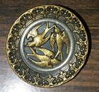 LG ANTIQUE VICTORIAN MIXED METAL PICTURE BUTTON - THREE BIRDS w BORDER - 1 3/8