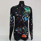 Santini vintage cycling jersey long sleeve black L new with tags retro bike