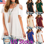 Womens Lace Edge Frill Top Cold Shoulder Short Sleeve Blouse Tunic Dress Tops