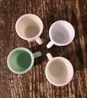 4 Colored (Jadeite) Fire King D C Handle Coffee Cups Mugs / Old Vintage Antique