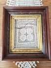 Antique Victorian Eastlake Walnut Deep Shadowbox Picture Frame w/Carvings