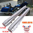 DNA 4 Chrome Megaphone Slip On Mufflers Exhaust Pipe For 95 2016 Harley Touring